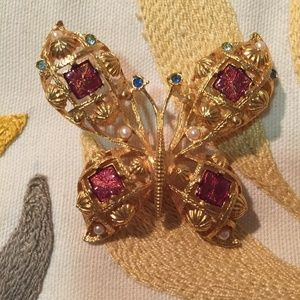 Vintage large gold-toned butterfly pin